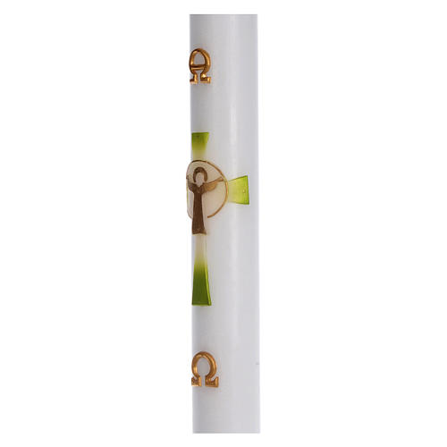 Cero pasquale cera bianca Croce Risorto verde 8x120 cm 4