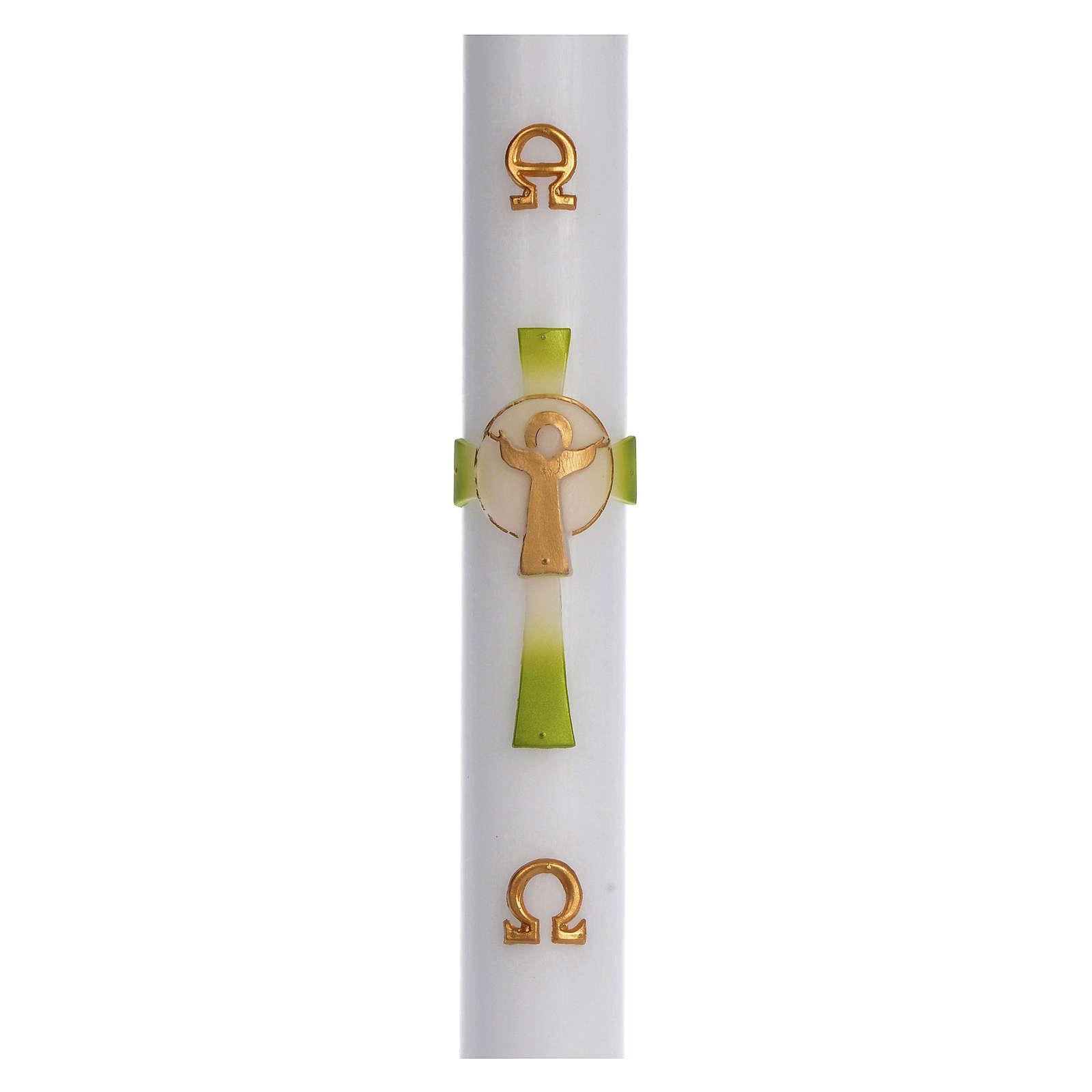 Paschał wosk biały Krzyż Zmartwychwstały zielony 8x120 cm 3