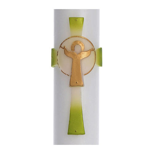 Paschal candle in white wax with green Cross Resurrected Christ 8x120cm 2