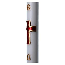 Cierge pascal cire blanche Croix relief rouge 8x120 cm s5