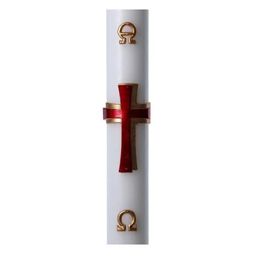 Cierge pascal cire blanche Croix relief rouge 8x120 cm 1
