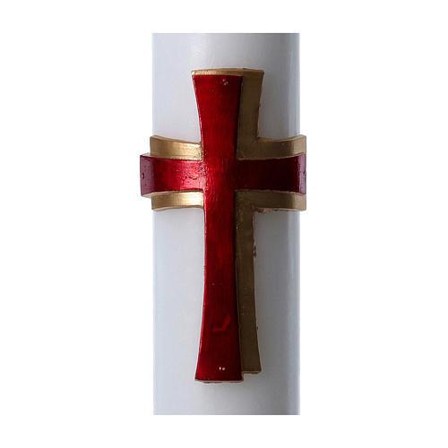 Cierge pascal cire blanche Croix relief rouge 8x120 cm 2