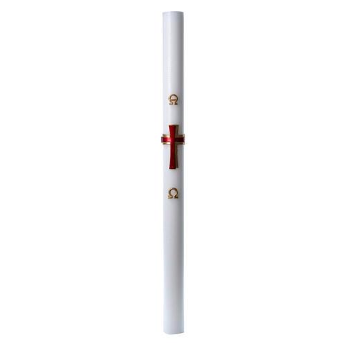 Cierge pascal cire blanche Croix relief rouge 8x120 cm 3