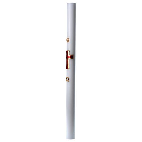 Cierge pascal cire blanche Croix relief rouge 8x120 cm 4