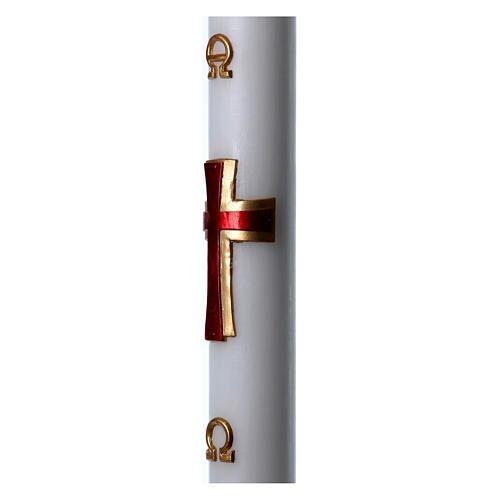 Cierge pascal cire blanche Croix relief rouge 8x120 cm 5