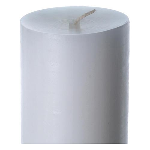 Cierge pascal cire blanche Croix relief rouge 8x120 cm 6