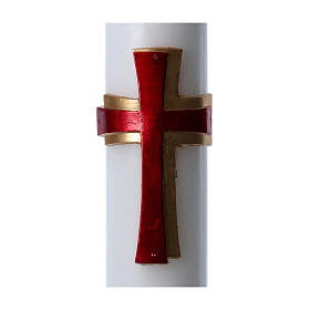 Easter candle in white wax with red cross in relief 8x120 cm s2