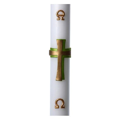Easter candle in white wax with green cross in relief 8x120 cm 1
