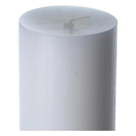 Cierge pascal cire blanche Croix relief vert 8x120 cm s6