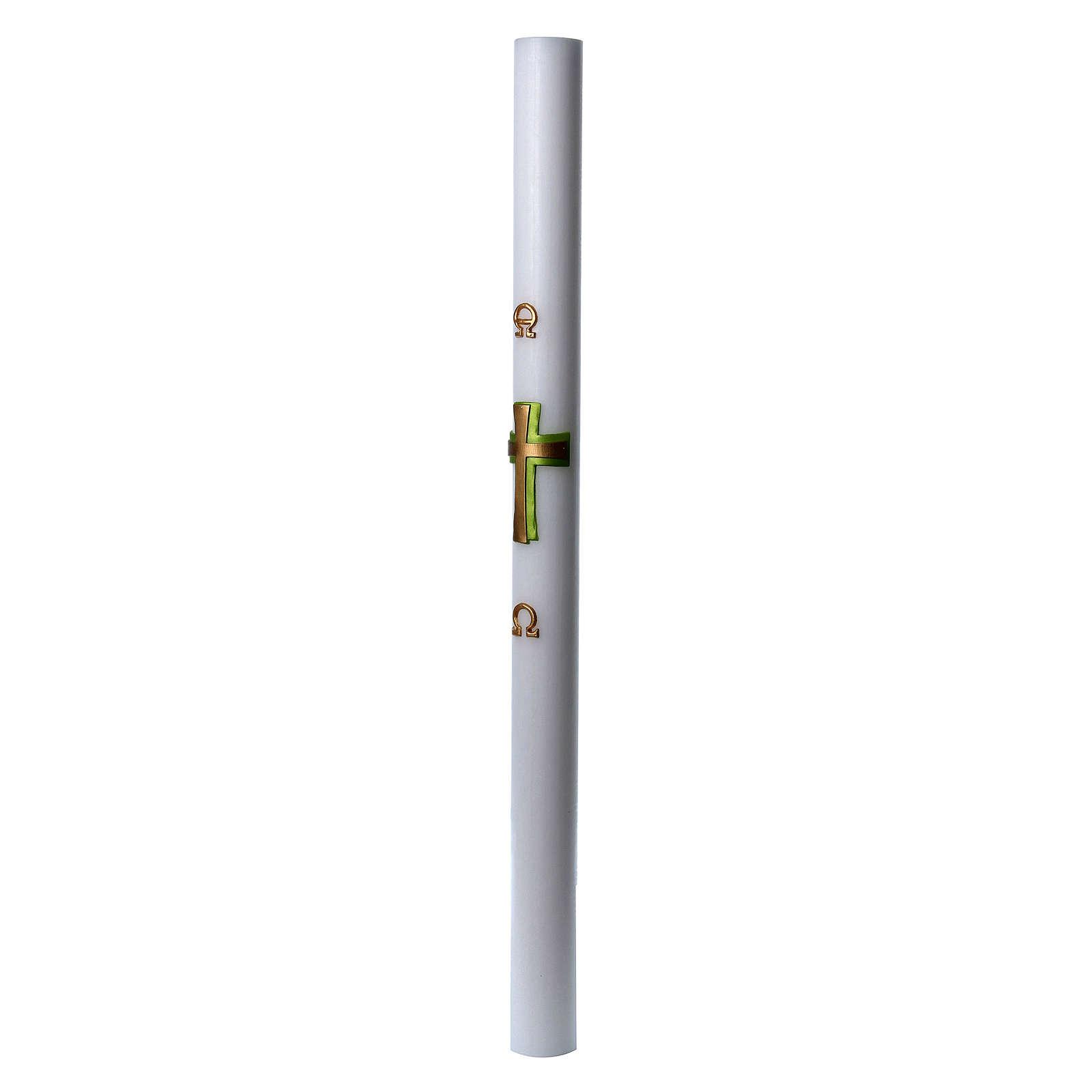 Círio pascal cera branca Cruz relevo verde 8x120 cm 3