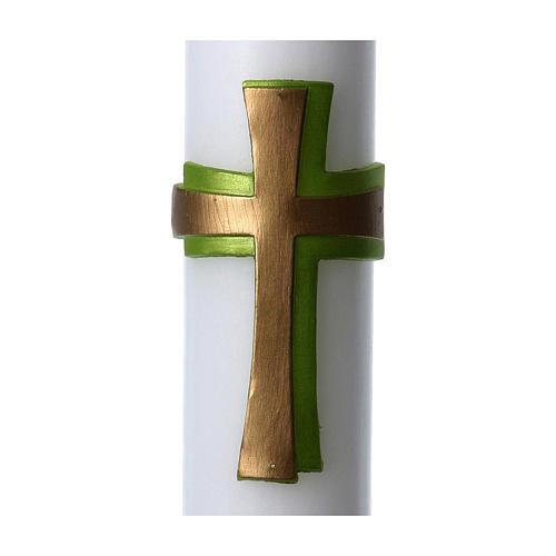 Círio pascal cera branca Cruz relevo verde 8x120 cm 2