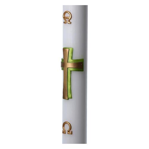 Círio pascal cera branca Cruz relevo verde 8x120 cm 5