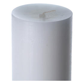 Easter candle in white wax with green cross in relief 8x120 cm s6