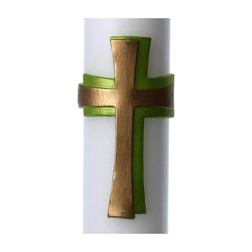 Easter candle in white wax with green cross in relief 8x120 cm 2