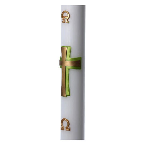 Easter candle in white wax with green cross in relief 8x120 cm 5