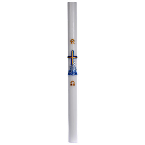 Paschal candle in white wax with blue cross and fish 8x120cm 3
