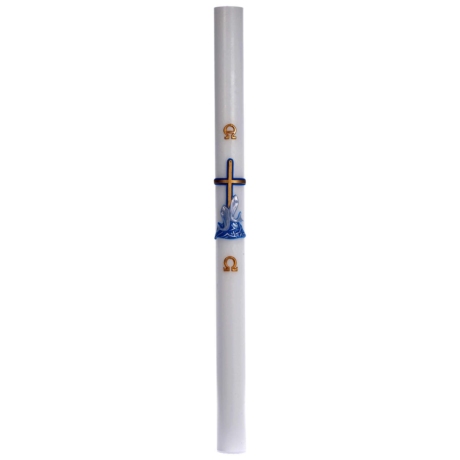 Cierge pascal cire blanche croix poissons bleu 8x120 cm 3