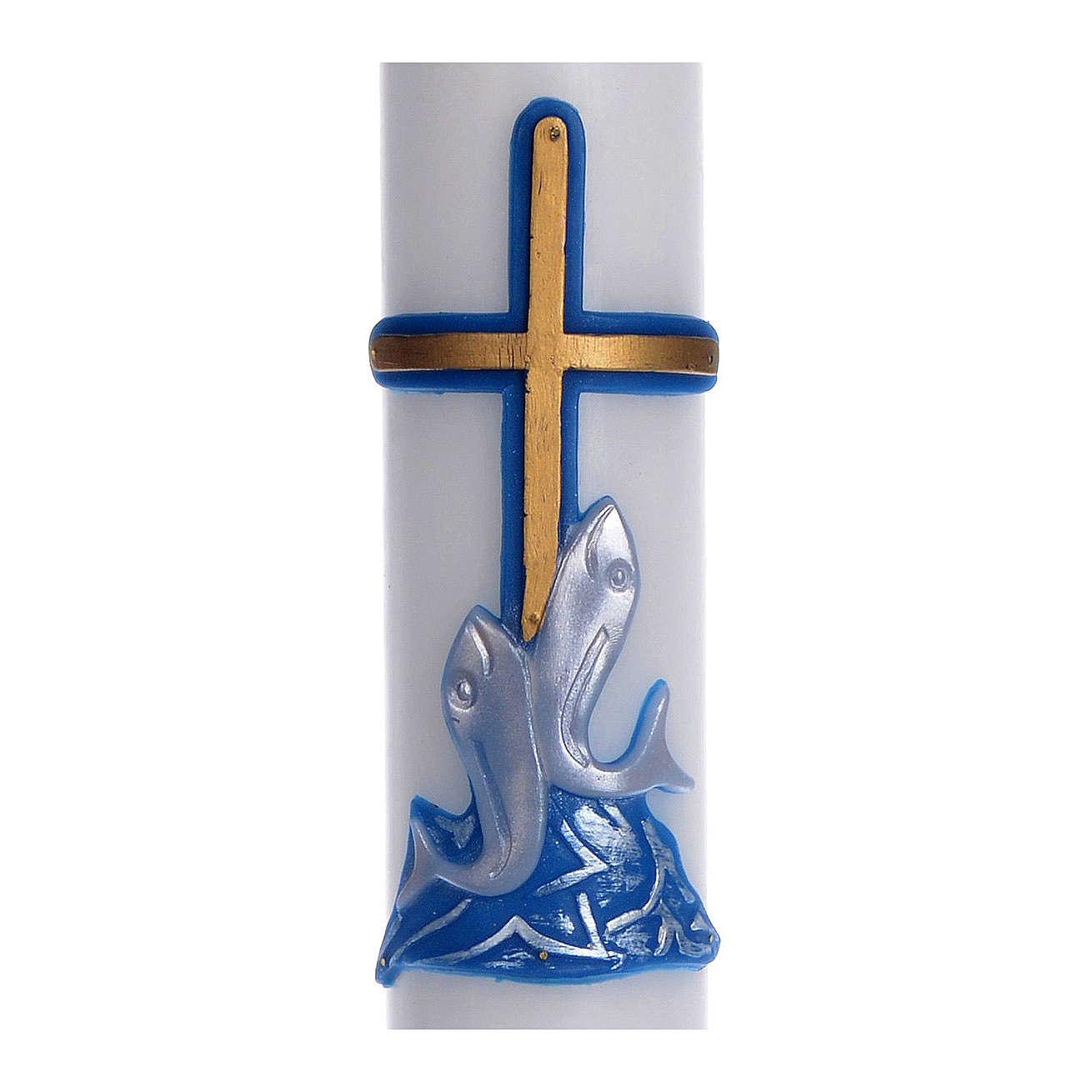 Cero pasquale cera bianca croce pesci blu 8x120 cm 3