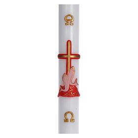 Osterkerze roten Kreuz und Fische rot 8x120cm s1
