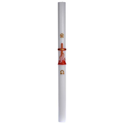 Cierge pascal cire blanche croix poissons rouge 8x120 cm 3