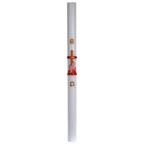 Cero pasquale cera bianca croce pesci rossa 8x120 cm 3