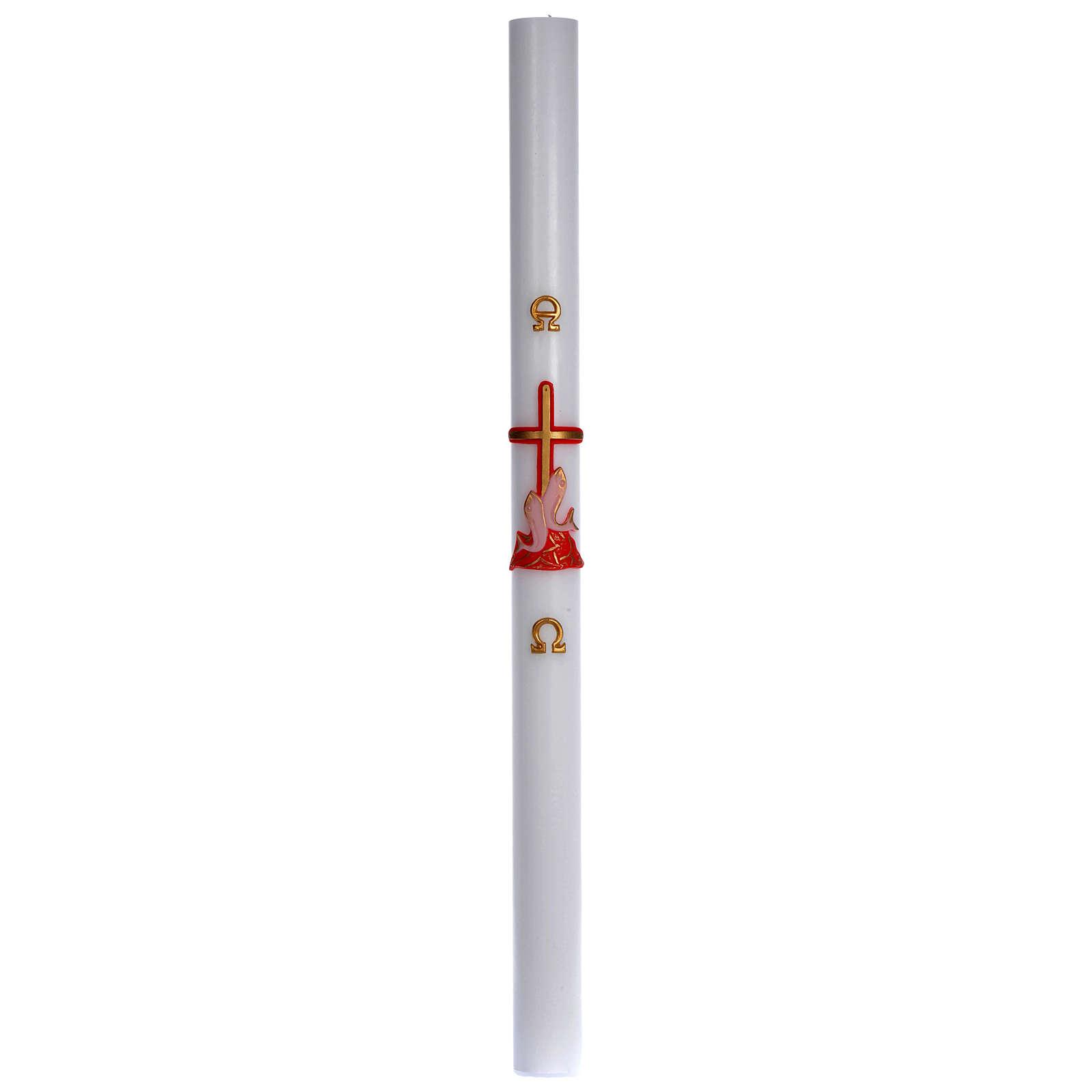 Paschał wosk biały krzyż ryby czerwony 8x120 cm 3