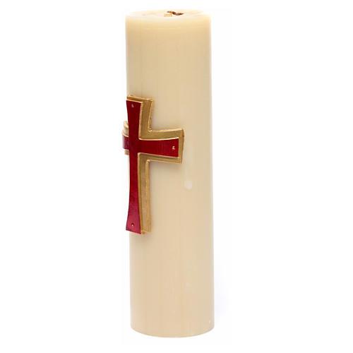 Cirio de eucaristía bajorrelieve cera abejas cruz roja diám 8 cm 2