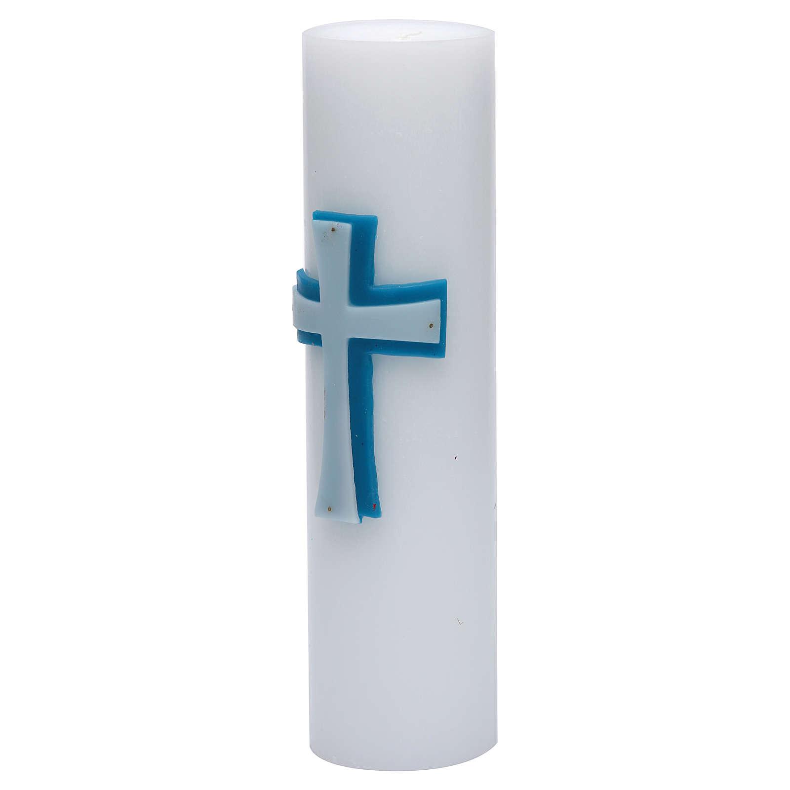 Cero da altare bassorilievo cera api croce blu diam 8 cm 3