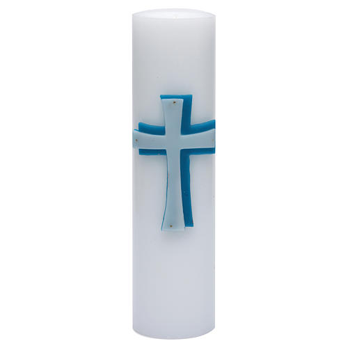 Altar candle with bas-relief in beeswax with blue cross 8cm 1