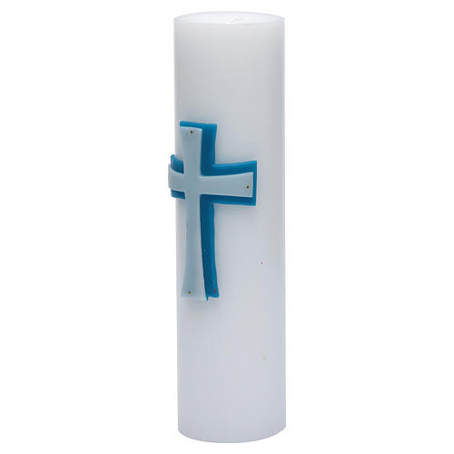Altar candle with bas-relief in beeswax with blue cross 8cm 2