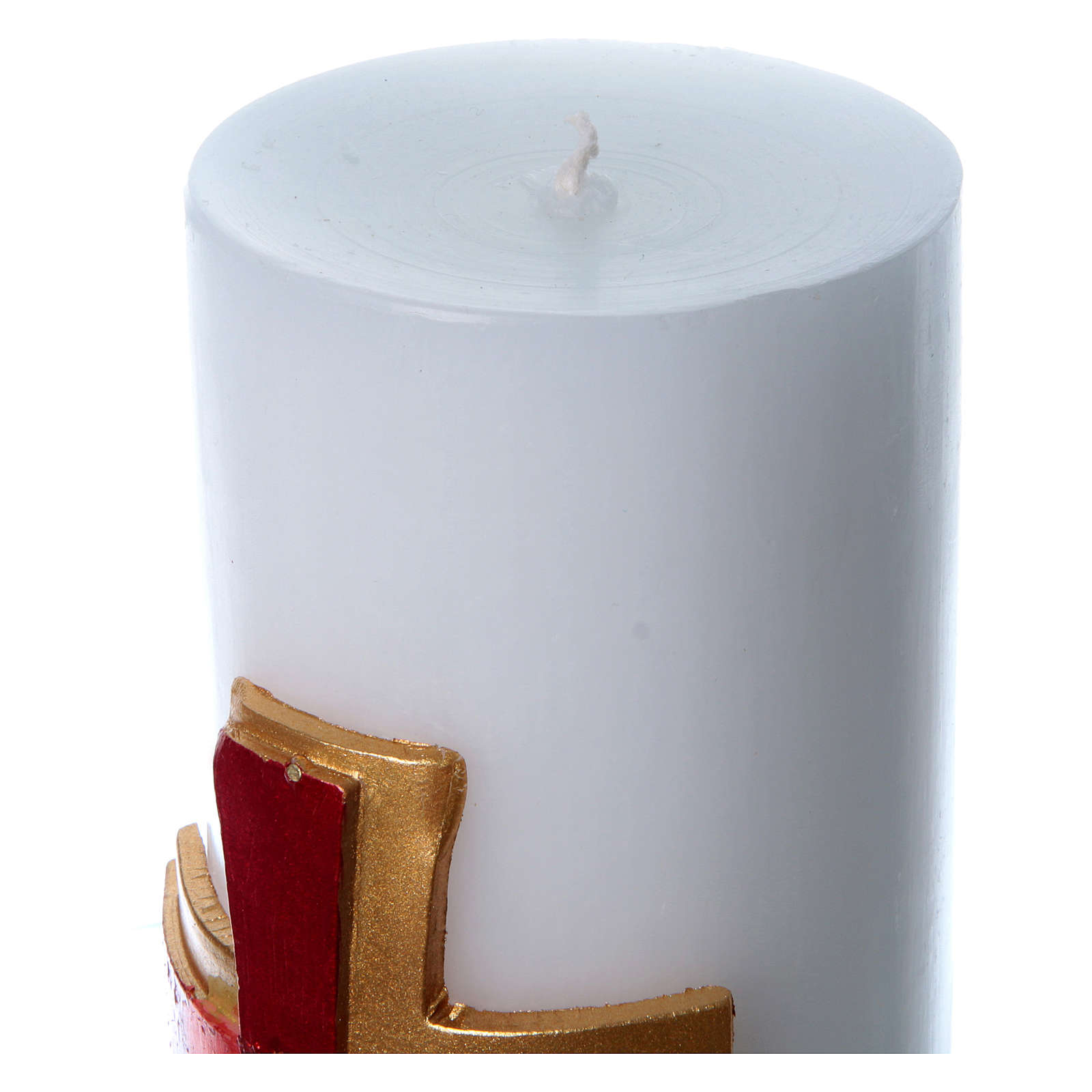 Altar candle with bas relief decoration in white wax with red cross, 8 cm diameter 3