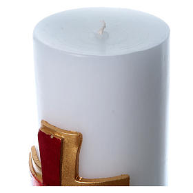 Altar candle with bas relief decoration in white wax with red cross, 8 cm diameter s3
