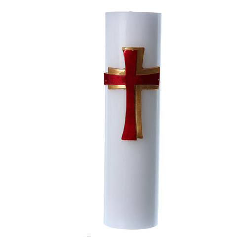 Altar candle with bas relief decoration in white wax with red cross, 8 cm diameter 1