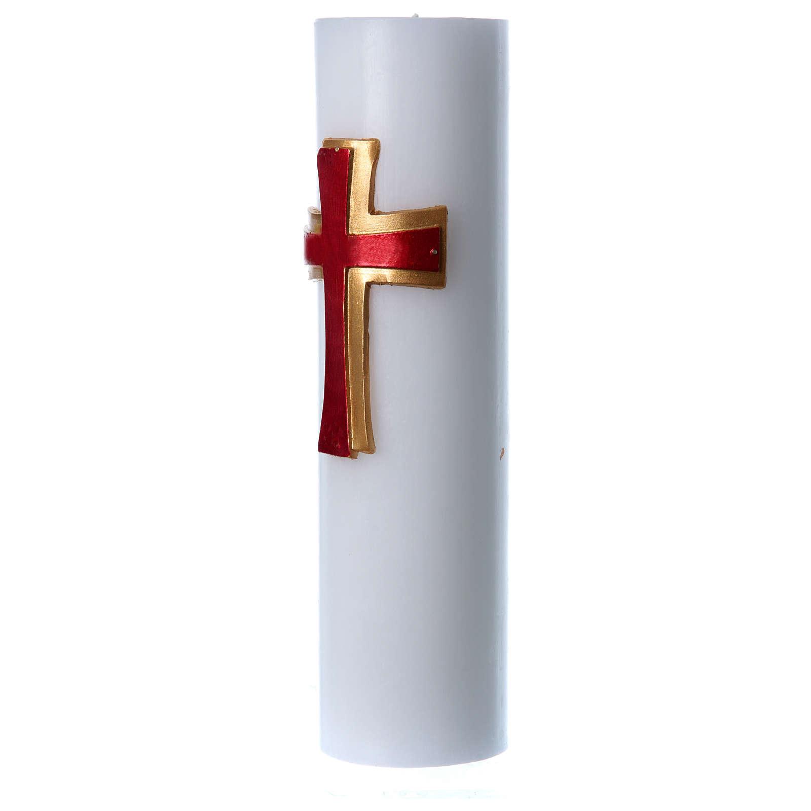 Cero da altare bassorilievo cera bianca croce rossa diam 8 cm 3