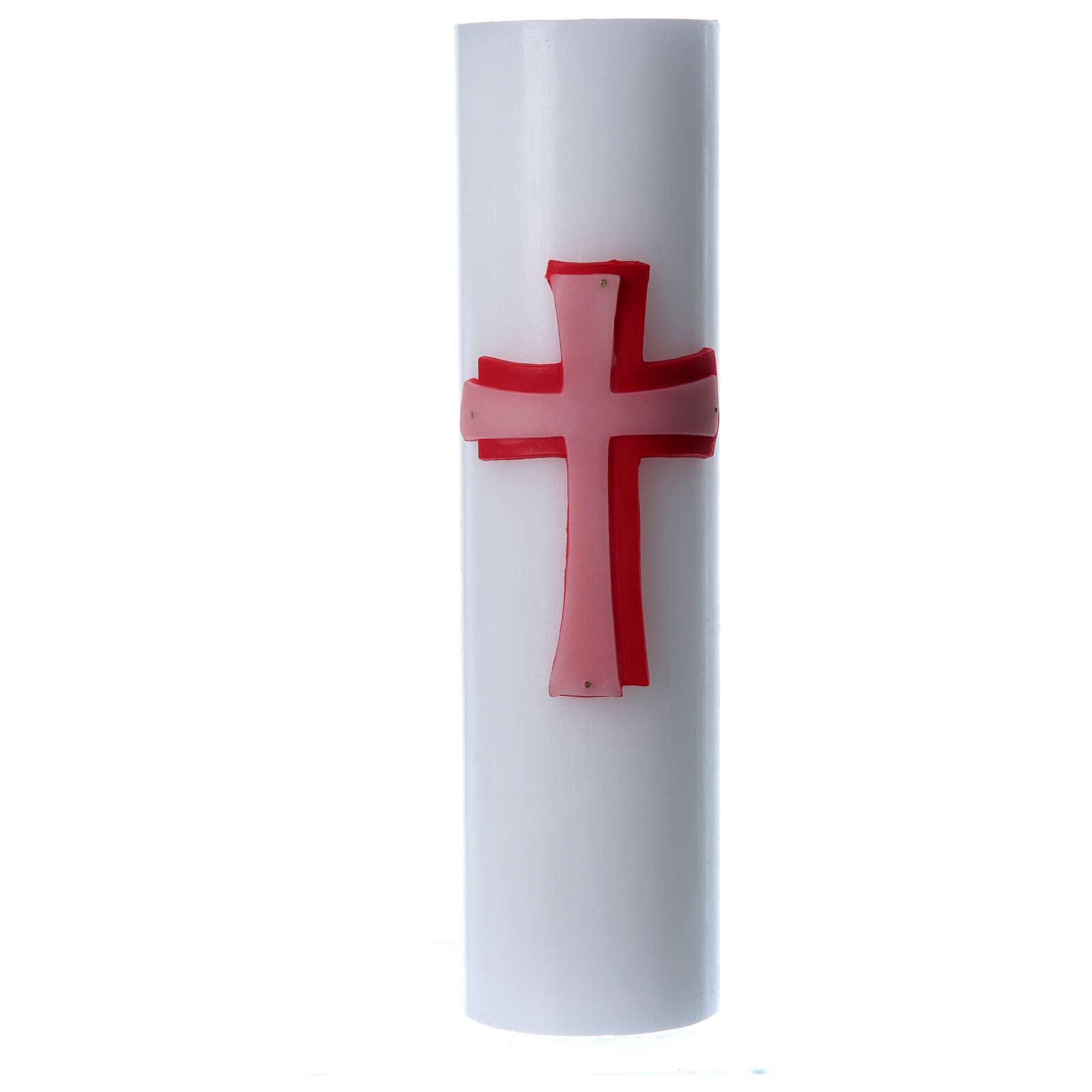 Cero da mensa bassorilievo cera bianca croce rossa diam 8 cm 3