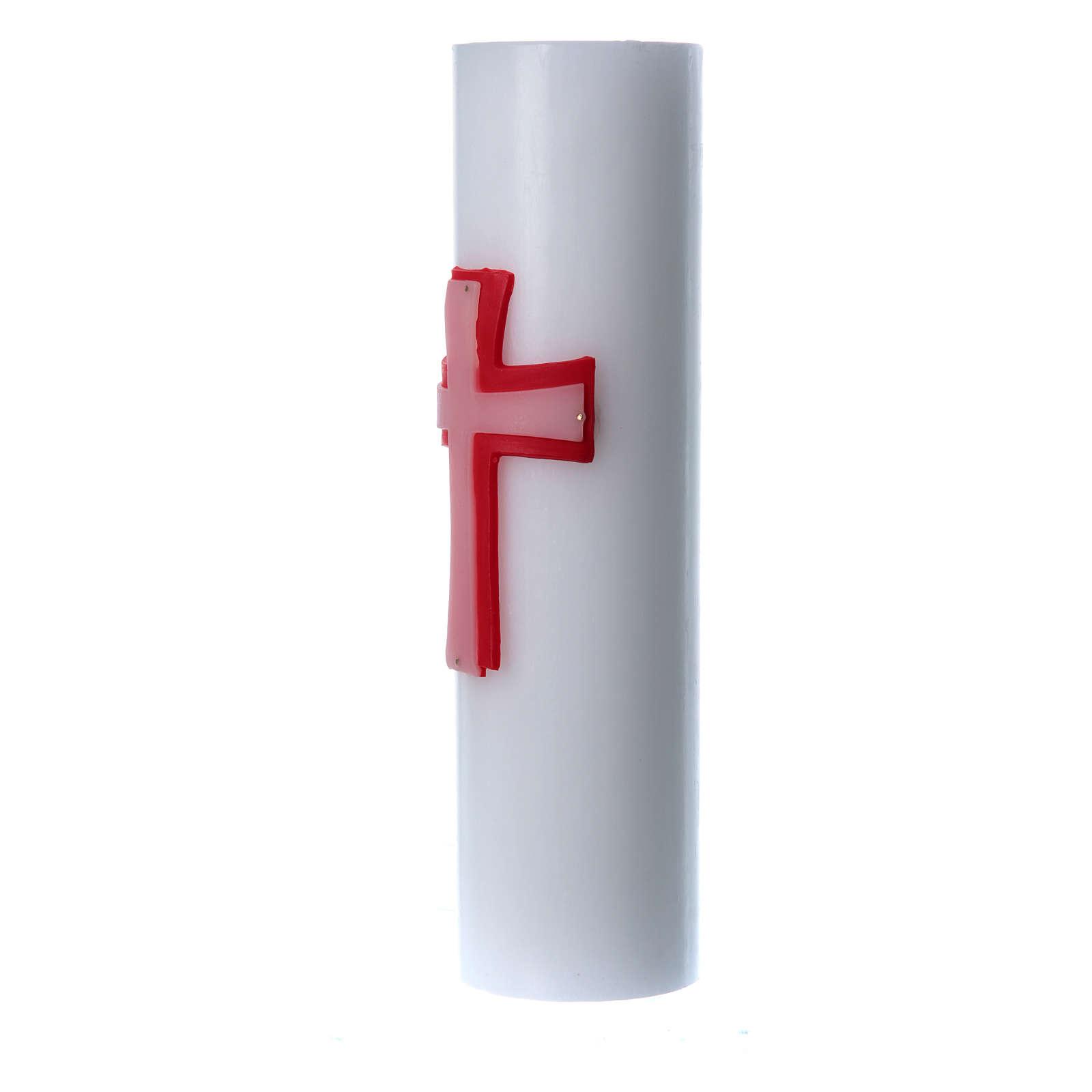 Świeca ołtarzowa wosk biały płaskorzeźba Krzyż czerwony średnica 8 cm 3