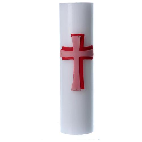 Świeca ołtarzowa wosk biały płaskorzeźba Krzyż czerwony średnica 8 cm 1