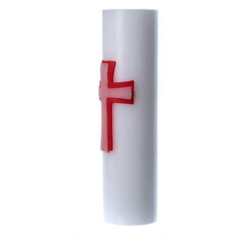 Świeca ołtarzowa wosk biały płaskorzeźba Krzyż czerwony średnica 8 cm 2