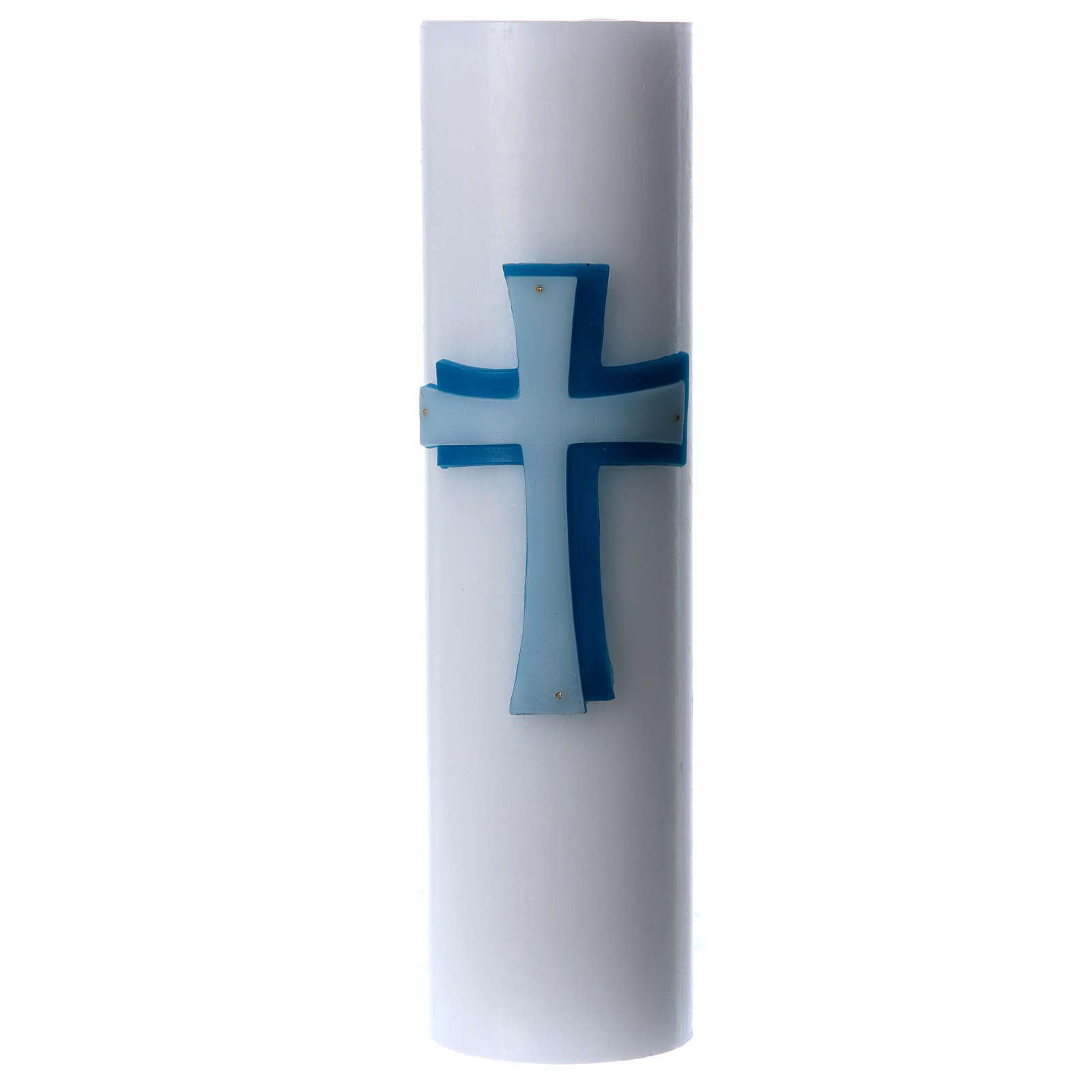 Cierge d'autel bas-relief cire blanche croix diamètre 8 cm 3
