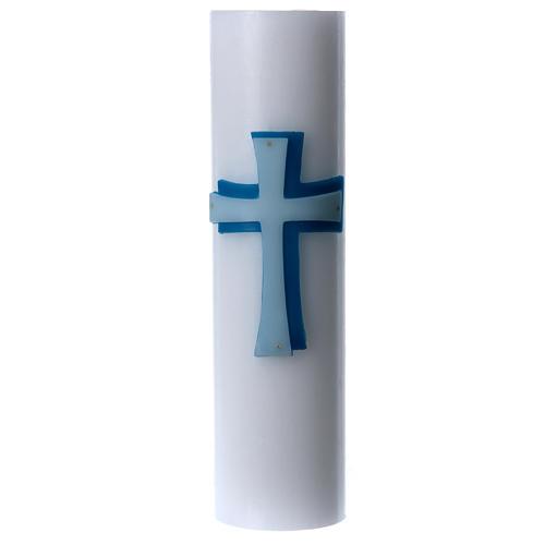 Cierge d'autel bas-relief cire blanche croix diamètre 8 cm 1