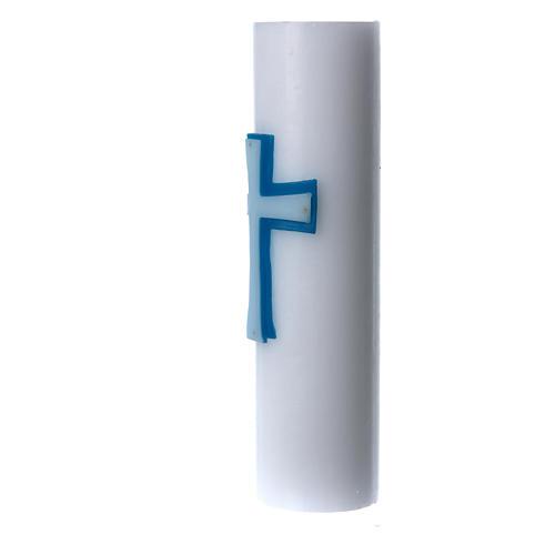 Cero da altare bassorilievo cera bianca croce diam 8 cm 2