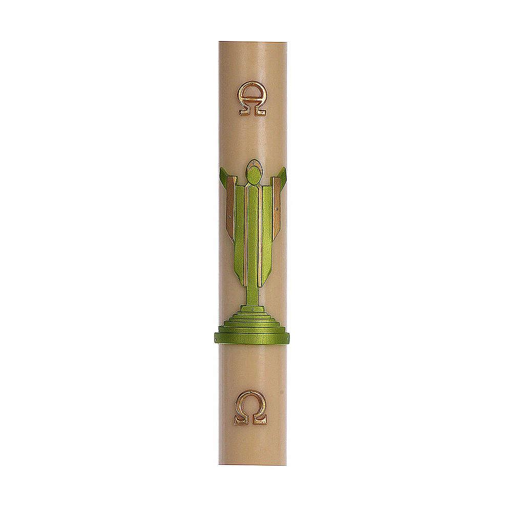 Cierge pascal cire d'abeille RENFORT Christ Ressuscité vert 8x120 cm 3