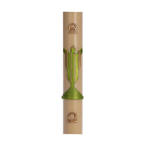 Cierge pascal cire d'abeille RENFORT Christ Ressuscité vert 8x120 cm 1
