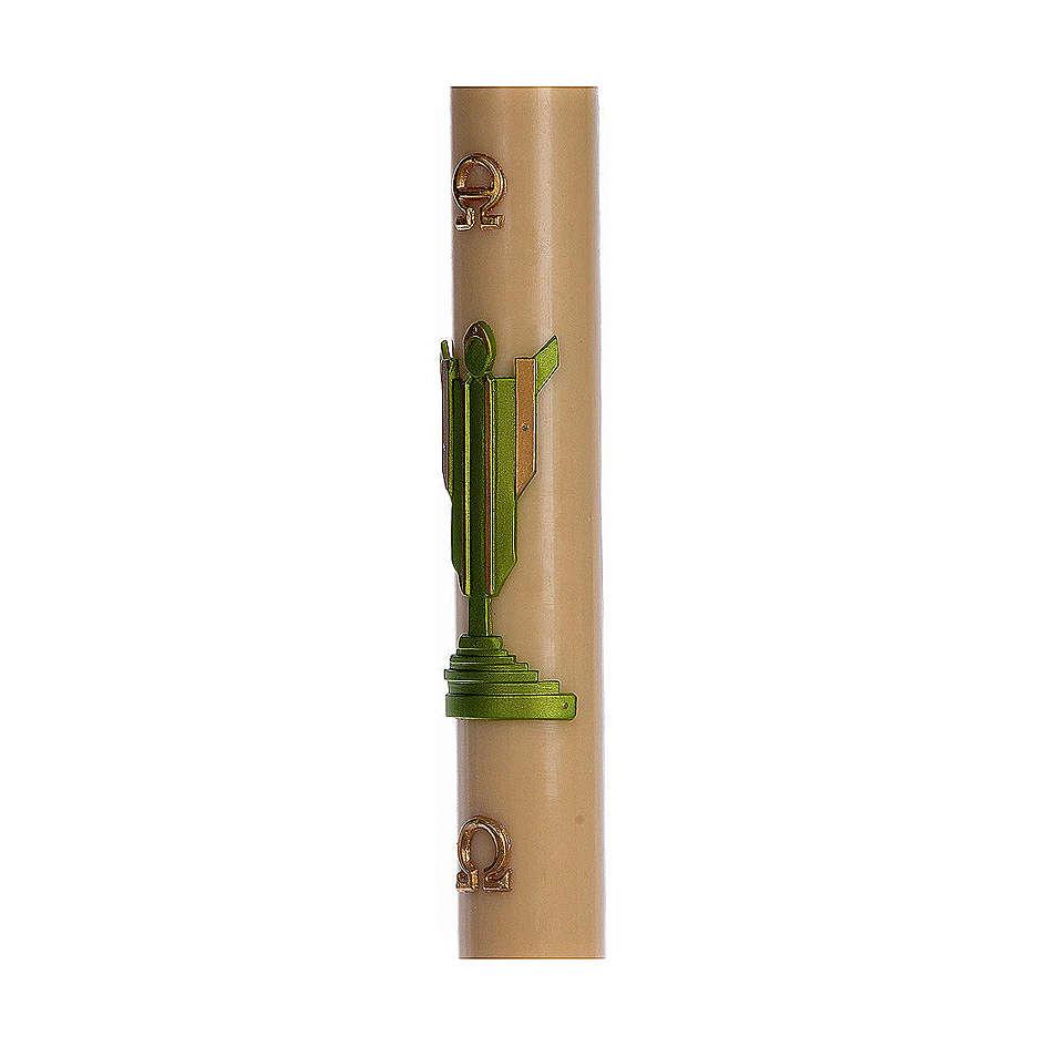 Paschał wosk pszczeli ZE WZMOCNIENIEM Chrystus Zmartwychwstały zielony 8x120 cm 3