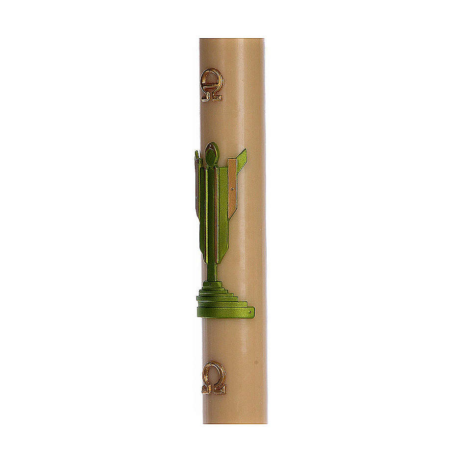 Paschal candle in beeswax with support and green Resurrected Christ 8x120cm 3