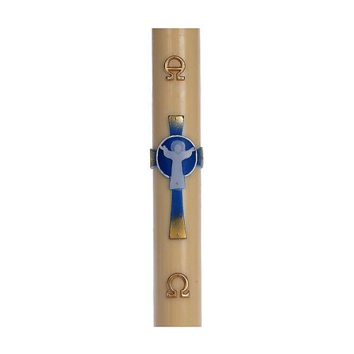 Cierge pascal cire d'abeille RENFORT Croix Ressuscité bleu clair 8x120 cm 1