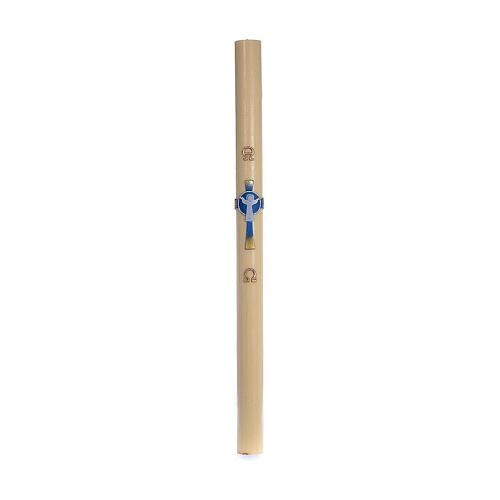 Cierge pascal cire d'abeille RENFORT Croix Ressuscité bleu clair 8x120 cm 3