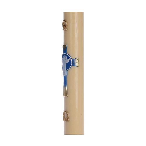 Cierge pascal cire d'abeille RENFORT Croix Ressuscité bleu clair 8x120 cm 4