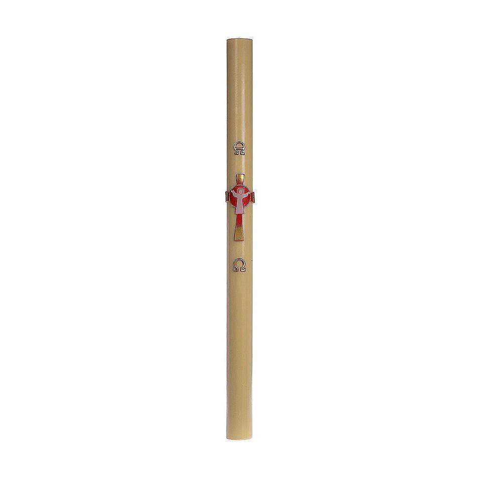 Cero pasquale cera d'api RINFORZO Croce Risorto rosso 8x120 cm 3