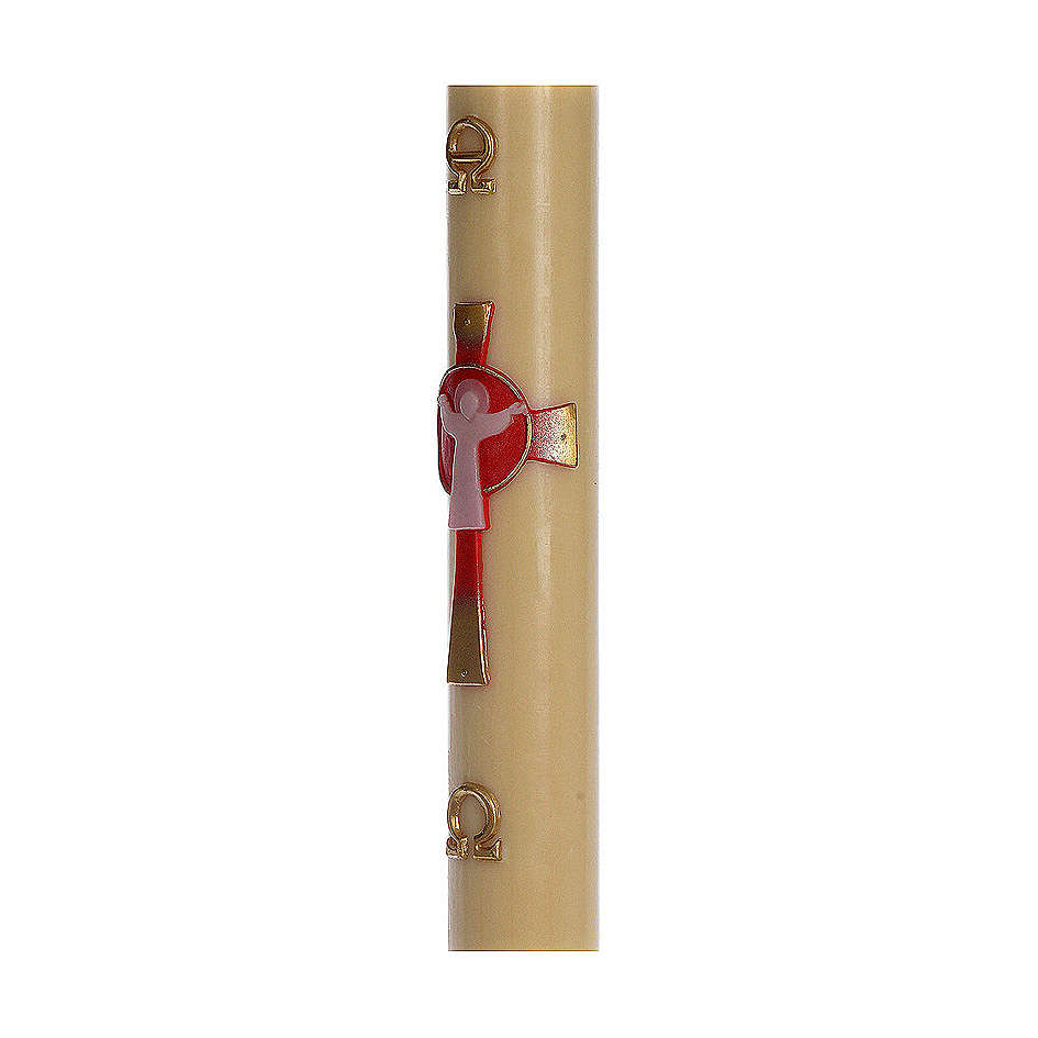 Paschal candle in beeswax with support and red Christ 8x120cm 3